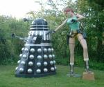Lara Croft Statue   This is a very rare statue made by Oxmox Studios, pictured here with a Dalek (not for sale). Offers?