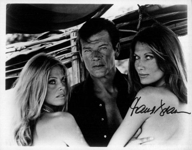 James Bond - Golden Gun. Roger Moore, Britt Ekland and Maud Adams(10x8)   Signed by Adams, slight lifting on Signature.