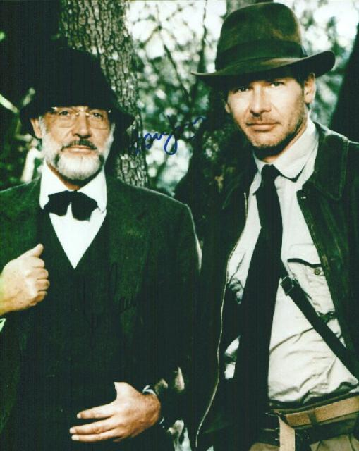 Sean Connery and Harrison Ford from Indiana Jones and the Last Crusade (10x8)   Signed by both, excellent signatures.