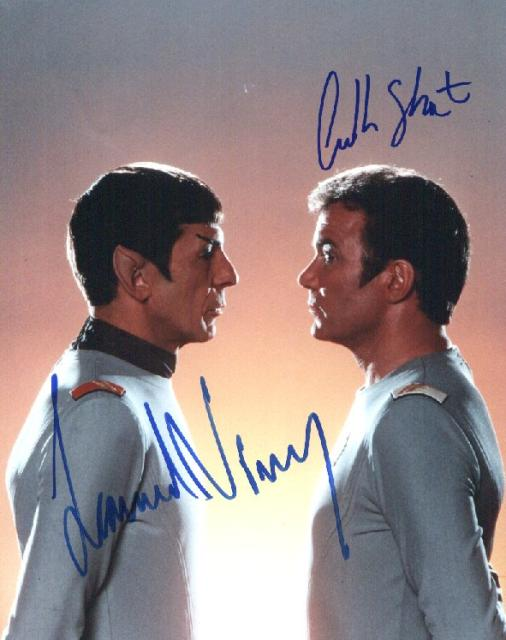 Star Trek: Spock and Kirk (10x8)   Signed by both Nimoy and Shatner - Excellent picture with excellent signatures.