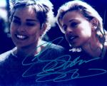 Sharon Stone and Ellen (10x8)   Signed by both, but the signatures are very badly damaged. It was signed with a bad pen.