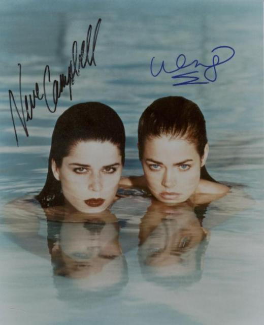 Wild Things: Neve Campbell and Denise Richards (10x8)   Signed by both. Neve's signature has some lifting (as shown).