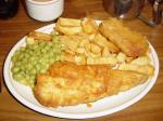 Fish, chips, mushy peas and a Spam fritter.