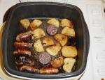 Sausage, black pudding and saute potatoes.