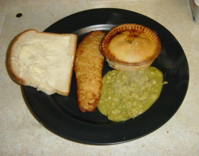 More of a Northern favourite, fish, meat and potato pie and mushy peas. What? No gravy?