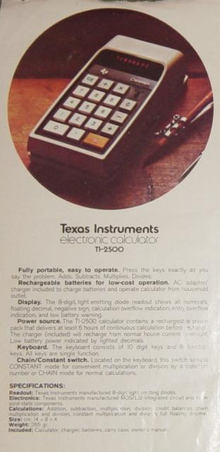 1972: Texas Instruments TI-2500-Datamath-advert
