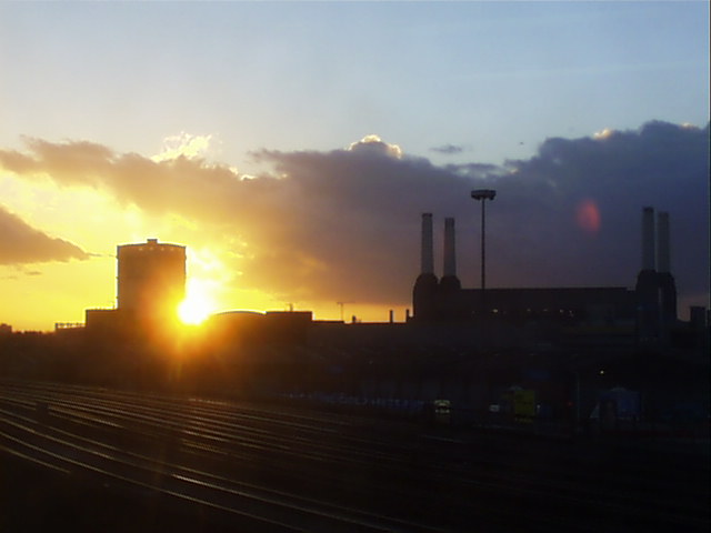 Battersea Power Station at sunset.